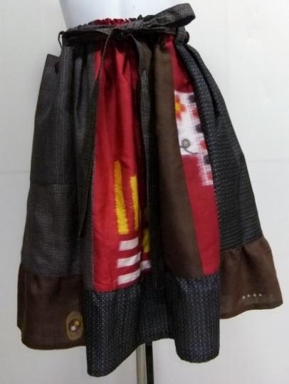 着物リメイク 銘仙と大島の着物で作った膝丈スカート 1666