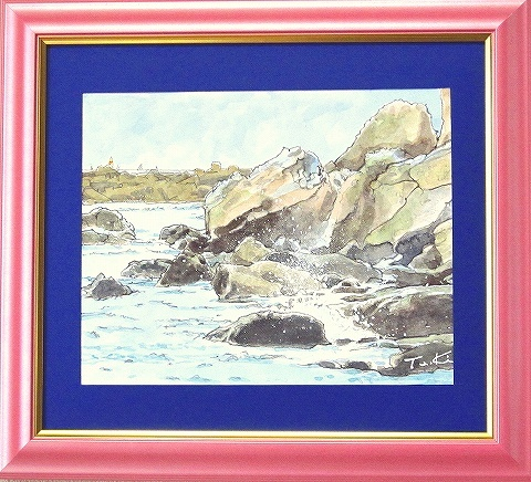 淡彩画 『 江の島岩屋近く』