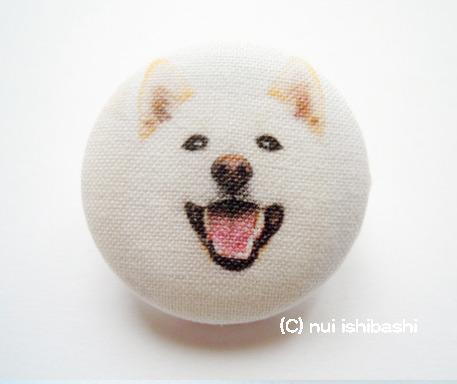M&Nオリジナル写真布バッジ/柴犬(白柴)