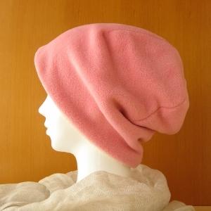 ゆるいリバーシブル帽子 ピンク綿フリース/生成りタオル(CFR-001-P)