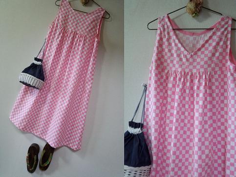夏 華遊びシリーズ ピンク市松模様のチュニック