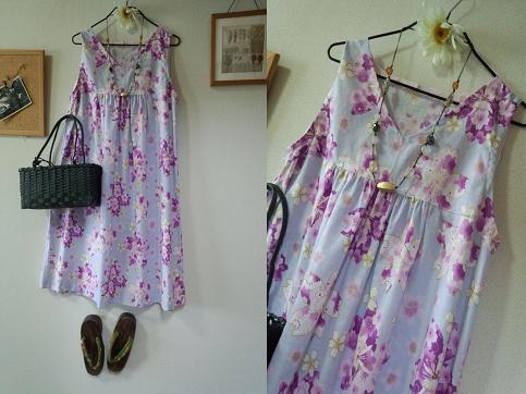 夏 華遊びシリーズ 紫系の桜の花のチュニック