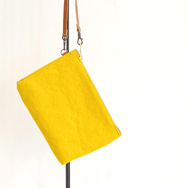 """倉敷帆布のクラッチバッグ """"Mustard Yellow"""""""
