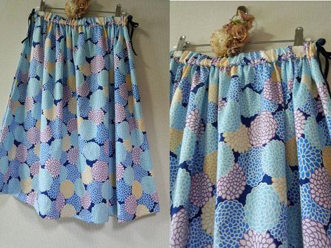 夏 華遊びシリーズ 菊柄のおしゃれなスカート