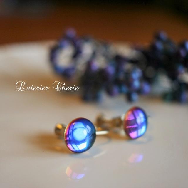【vintage】虹がかかるバミューダブルーのイヤリング