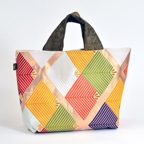 マルチカラー絹帯バッグ