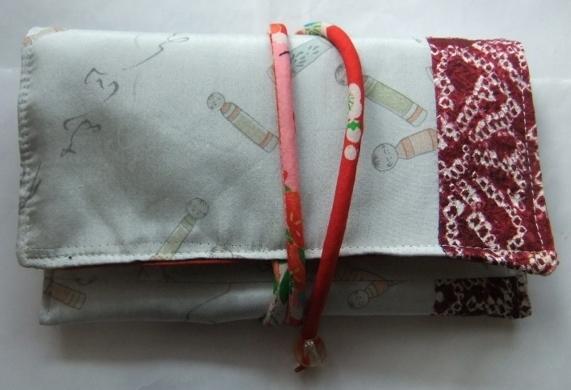 着物リメイク 絞りの羽織と羽織の裏地で作った和風お財布 1670