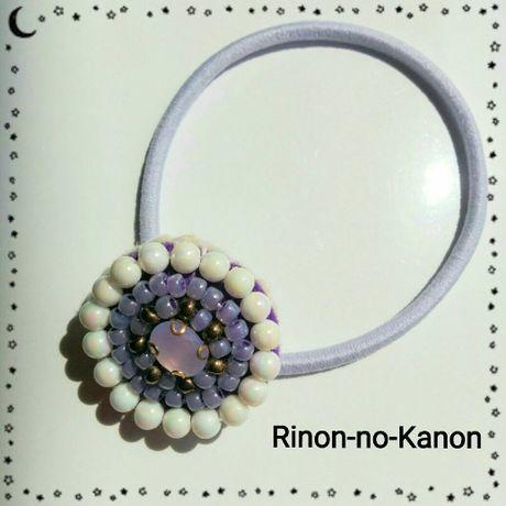 新春クリアランスセール★送料込*10 ビーズ刺繍ヘアゴム(紫)