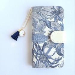 リバティiphone6 6S手帳型ケース アンジェリカ?ガーラg(イニシャル&誕生石 タッセルストラップ付き)
