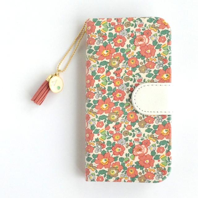 リバティiphone6 6S手帳型ケース(布柄オーダー専用ページ)+(イニシャル&誕生石 タッセルストラップ付き)