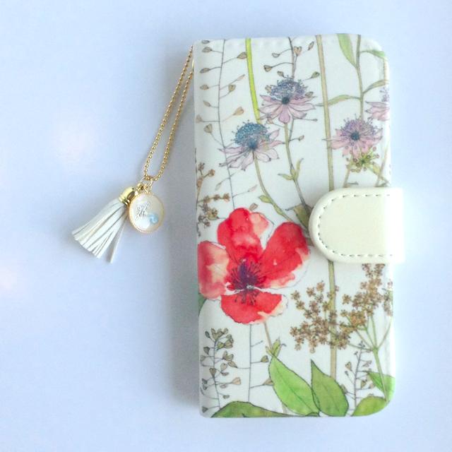 リバティiphone6 6S手帳型ケース イルマコーラル(イニシャル&誕生石 タッセルストラップ付き)