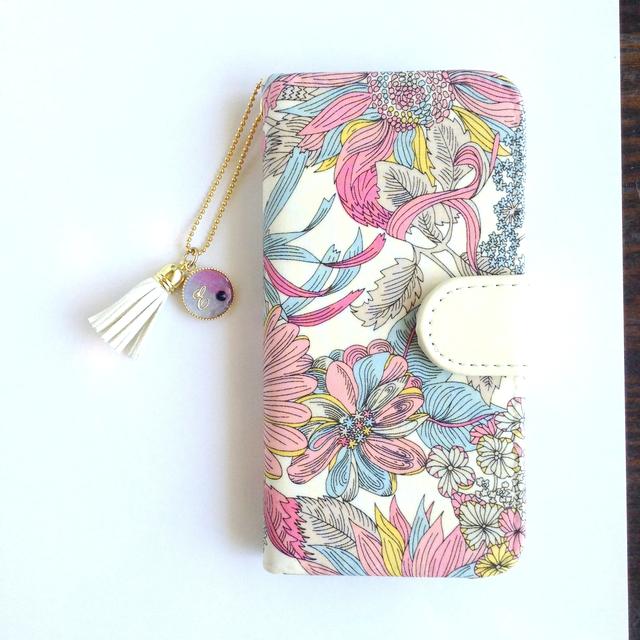 リバティiphone6 6S手帳型ケース アンジェリカ?ガーラp(イニシャル&誕生石 タッセルストラップ付き)