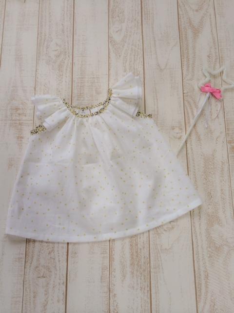 星の綿麻フリル袖ブラウス100サイズ