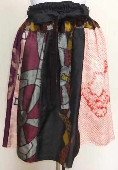 着物リメイク 銘仙と絞りの着物で作った膝丈スカート 1673