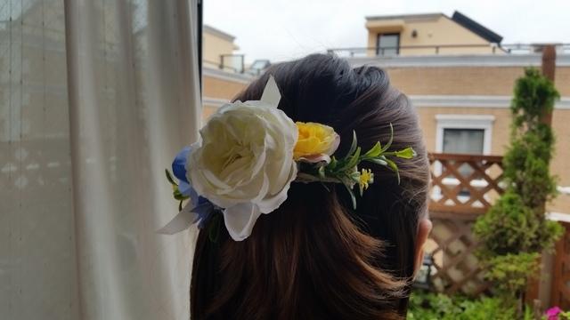 新作♪ 夏のバラのバレッタ