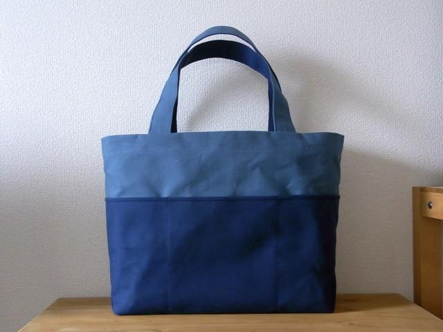 ��bicolor tote M�� blue gray��navy