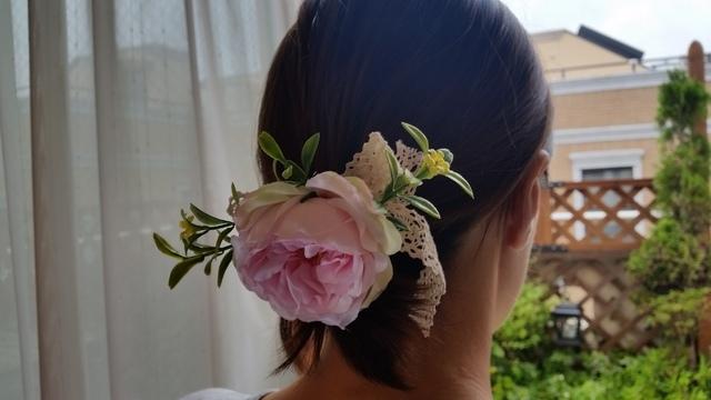新作♪ 夏のピンクのバラのヘアーゴム