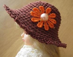 【帽コレ2016summer】ストローハット風のドール用のお帽子【オレンジショコラS79】