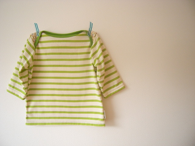 クロスショルダー七分丈Tシャツ:若葉*110size