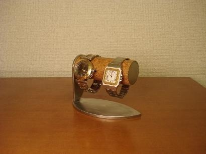 かわいいリーフ台座2本掛け腕時計スタンド