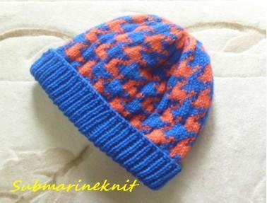 千鳥格子柄手編みニット帽