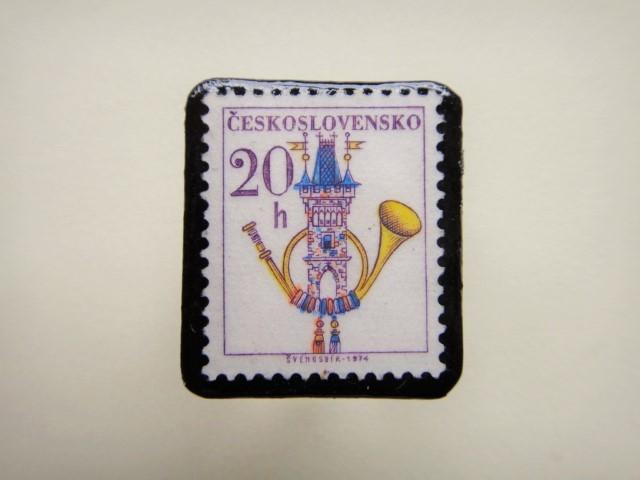 チェコスロバキア 切手ブローチ1341