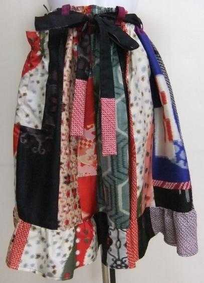 着物リメイク 絞りと銘仙の着物で作った膝丈スカート 1677