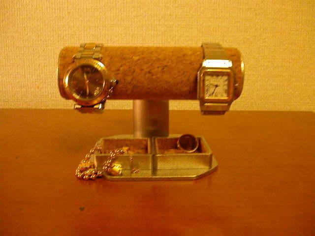 可動式腕時計スタンド2つトレイ付き