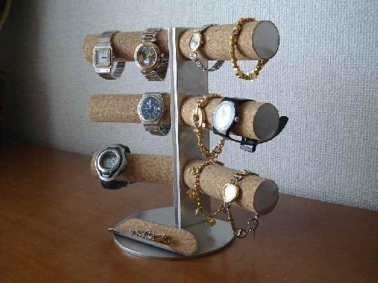 腕時計スタンド 12本掛け角度付き腕時計スタンド ハーフパイプトレイ付き