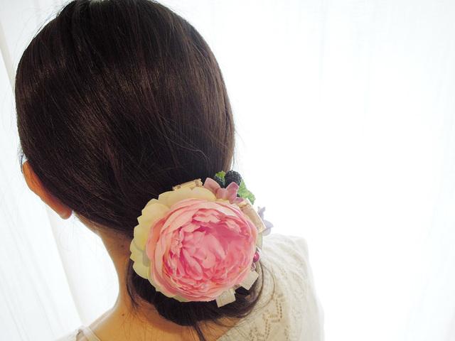 ヘッドドレス・コサージュ *12 ピンクローズ