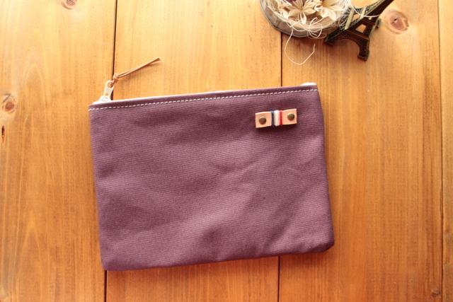H970 帆布シンプルポーチ Mサイズ -懐かし紫-