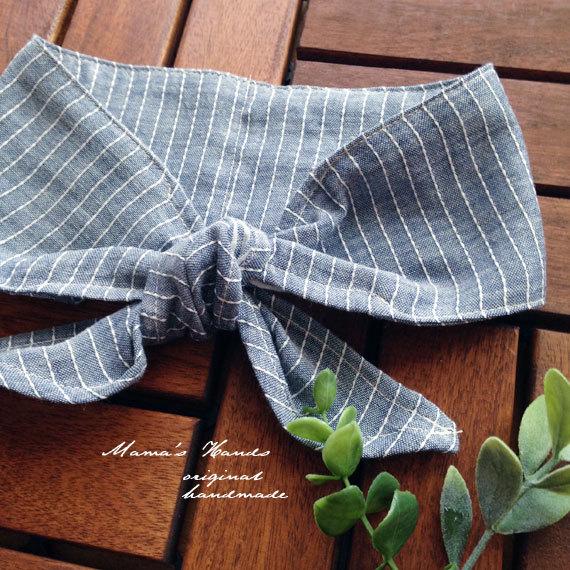 ストライプ 水色 デニム色 綿 保冷剤 エコ 首 スカーフ
