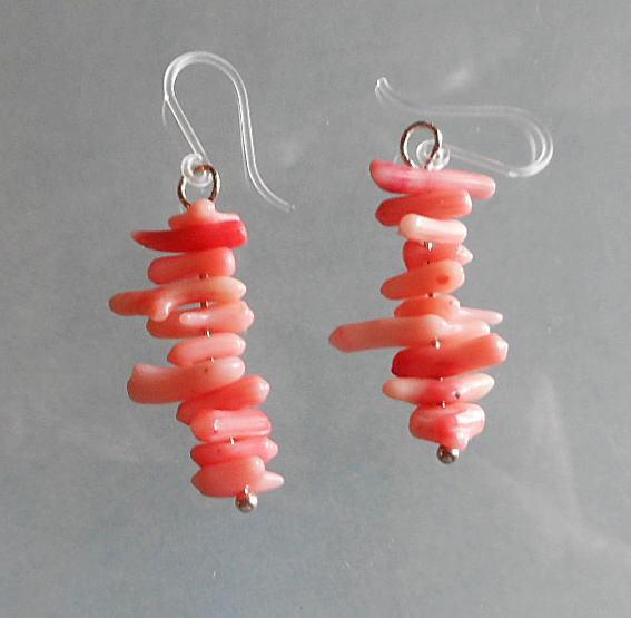 alice可愛いイアリング?ピンクの枝サンゴつなぎです*可愛い!!#168-12