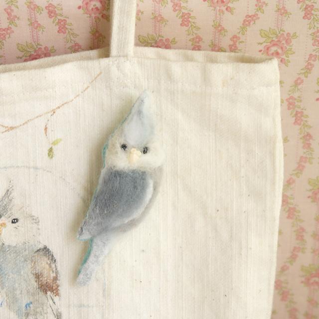ふわふわ小鳥ブローチ オカメインコ(ホワイトフェイス)