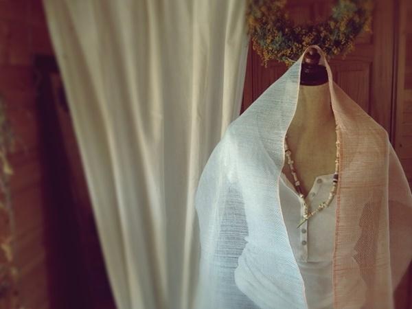 手織り リトアニアリネン糸 スカイブルーとオレンジのストール