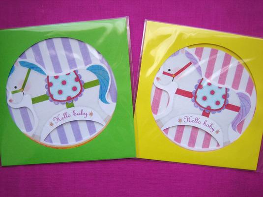 木馬のカード(ピンク)