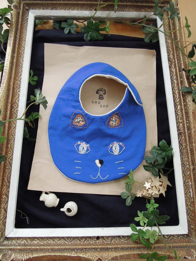 ★new  猫ネコモチーフ刺繍スタイ ダブルガーゼ