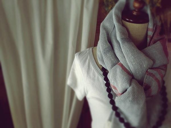 手織り リトアニアリネン 生成りのストール
