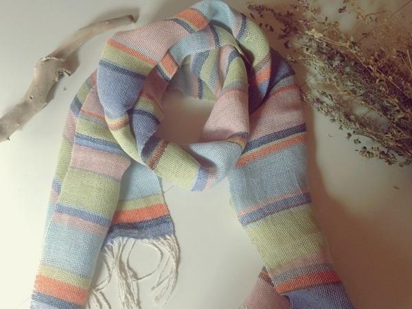 手織り リトアニアリネン カラフルなストール