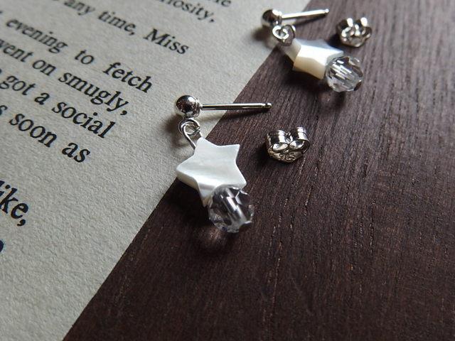 【silver925】星と水晶のキャッチピアス