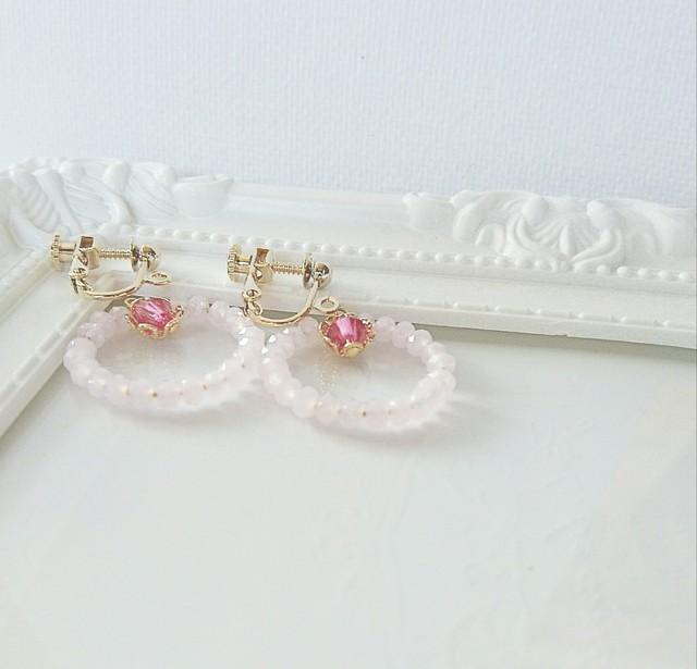 ルビーピンク☆リングイヤリング/樹脂ピアス
