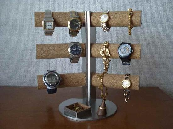 腕時計スタンド 12本掛け角度付き 木製リングスタンド角トレイ