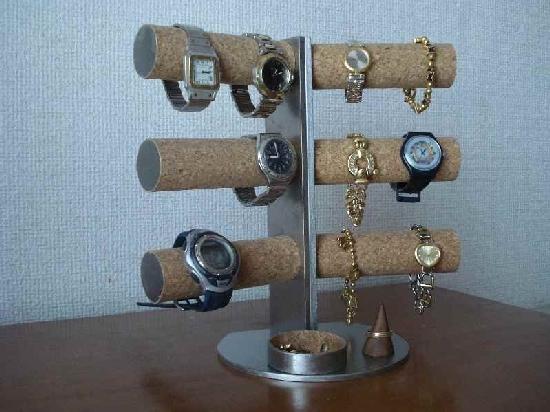 腕時計スタンド 12本掛け角度付き 木製リングスタンド丸トレイ