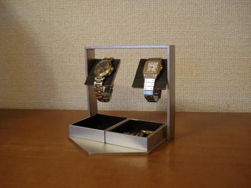 ブラックトレイ付きアクセサリー収納ケース風腕時計スタンド