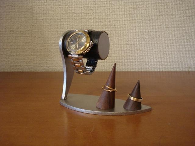 腕時計スタンド ブラックコルク腕時計スタンド ダブルリングスタンド付き