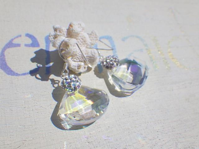 人魚の貝殻 クリスタルピアス/イヤリング*SV925*