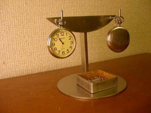 懐中時計スタンド 2本掛け角トレイインテリア収納スタンド