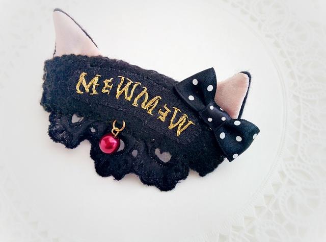 黒猫バレッタ・ブローチ?ハロウィンにも♪