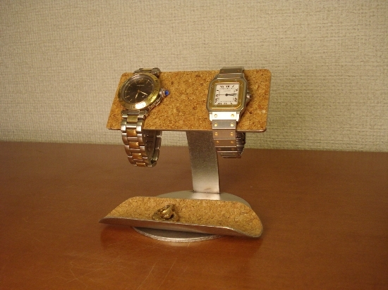 バー2本掛け腕時計スタンドハーフパイプトレイ付き