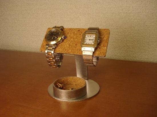 バー2本掛け腕時計スタンド丸トレイ付き